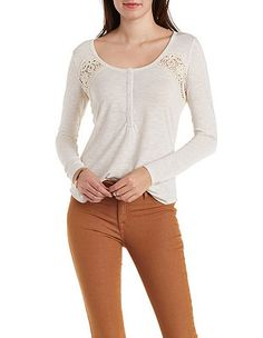 Slub Knit Henley Top with Crochet: Charlotte Russe