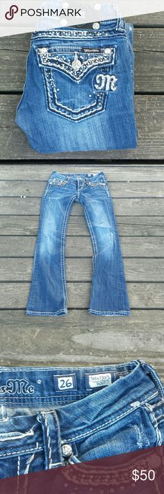 """Miss Me Boot Cut Bling Jeans! Miss Me Boot Cut Bling Jeans! Size 26, inseam 33 """". EUC. Miss Me Jeans Boot Cut"""