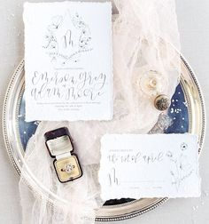 So smitten with the natural textures and elegant #calligraphy of these gorgeous #weddinginvitations  Photography by @calliemanionphotography | Stationery Design by @allikdesign |  Engagement Ring from @amulettejewelry | Film Processed by @photovisionprints  #handlettering #ontheblog #stationerydesign #stationeryaddict