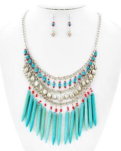 Anjali Turquoise Tribal Necklace Set wwww.amourbyk.com #turquoise #turquoisejewelry
