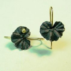 Silver Geranium Leaf Earrings  with a Gold Lady Bug Oxidized by PatrickIrlaJewelry, $198.00