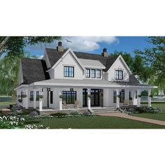 7375 Construction-Ready Two-Story Farmhouse Plan with Basement Foundation Printed Sets) - Walmart Floor Plans 2 Story, House Plans 2 Story, Split Level Floor Plans, Two Story House Design, New House Plans, Basement Floor Plans, House Plan With Basement, House Plans With Pool, Courtyard House Plans