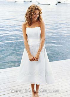 White Chiffon A-line Belt Sweetheart Tea-length Wedding Dress at Millybridal.com