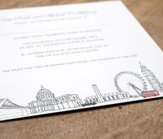 Close up - London Theme Wedding Invitation designed for Lucy and Micheal