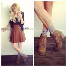 fun socks and ankle boots (neutral tones)