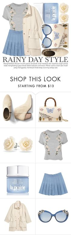 """SPLISH-SPLASH: RAINY DAY STYLE"" by noraaaaaaaaa ❤ liked on Polyvore featuring Gap, Gucci, Bling Jewelry, Topshop, La Prairie, Jimmy Choo and rainyday"