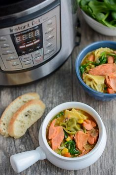 Since it is officiall Fall we thoguht it would be nice to dish out a quick and easy instant pot salmon soup recipe. Instant Pot Recipe: Salmon and Tortellini Soup - Dish on Fish Sally Black Instant pot Happy Salmon Recipes, Seafood Recipes, Soup Recipes, Recipies, Instant Pot Pressure Cooker, Pressure Cooker Recipes, Pressure Cooking, Seafood Soup, Seafood Salad