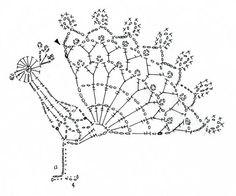 孔雀のモチーフ(編み図付き、くじゃく、クジャク) : Crochet a little