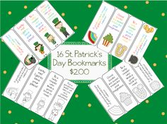16 St. Patrick's Day bookmarks; 8 color 8 black and white $2.00 on TpT