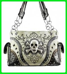 Concealed Carry Rhinestone Skull Embroidered Soft PU Leather Women's Handbag Texas West Coin Collection in 4 Colors (Tan) - Shoulder bags (*Amazon Partner-Link)