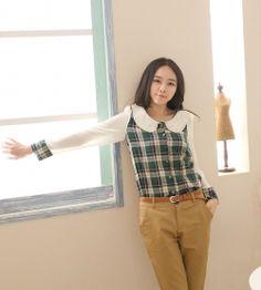 J9853 Lace Collar Chiffon Splicing Korean Fashion Grid Shirt