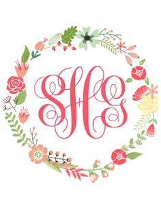 FRAMED Floral Wreath Monogram Print - Hot Pink