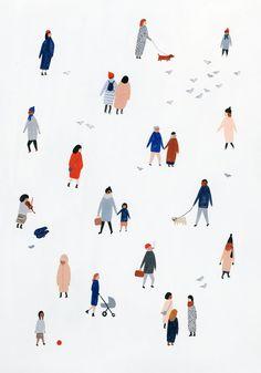 Tiny People Print 9x12 by KatePugsley on Etsy