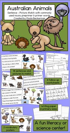 Your 1st - 3rd grade students will love learning facts about Australian animals and practicing sight words with this complete reading center.  All you need to do is print, laminate and trim for an engaging literacy and science center. TpT $