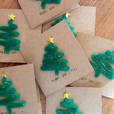 Novelty Handmade Christmas Cards.  Vintage printing kit used for lettering.  #christmascards #christmas trees #novelty #stars #pipe cleaners #green #vintage