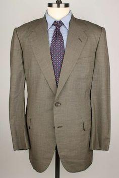 Oxxford Clothes Vtg Olive Brown Super Worsted Wool 42 R mens Sport Coat