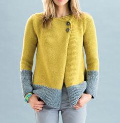 Très chic et colorée, on aime cette veste qui vous tiendra parfaitement au chaud durant vos longues soirées d'hiver. Tricoté en ' Phil-Looping ' coloris Colza et Flanelle.Modèle N°25 du catalogue N°125 : Femme, Automne/Hiver 2015