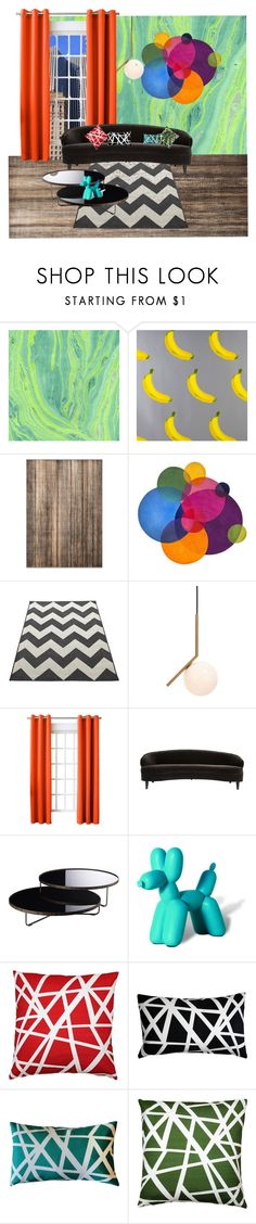 """pop"" by yasmina-muratovich ❤ liked on Polyvore featuring interior, interiors, interior design, home, home decor, interior decorating, Flavor Paper, Safavieh, Flos and Sun Zero"