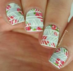 Some lines over floral #nailstorming