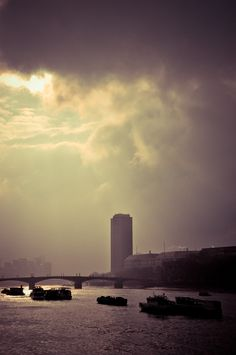 Freight barges on Thames - London by Lidia, Leszek Derda on New York Skyline, Celestial, London, Sunset, Landscape, Travel, Outdoor, Outdoors, Scenery