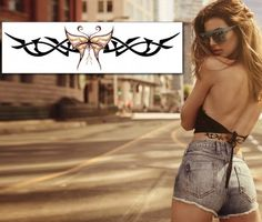 Tribal Butterfly Band Tattoo. A combination between a rough tribal pattern and a delicate stylish butterfly, designed with the same curves as the tribal drawing, this is the perfect temporary tattoo for a daring young lady. Price: Just £3.00 inc. VAT.