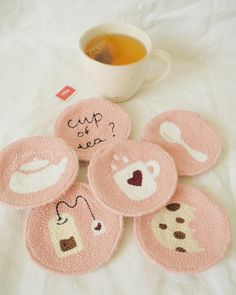 Punch Needle Kits, Punch Needle Patterns, Fabric Coasters, Embroidery Fabric, Weaving Art, Punch Art, Rug Hooking, Drink Coasters, Hobbies And Crafts