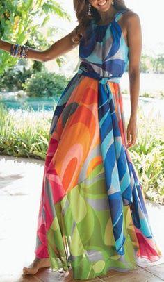 Sleeveless Colorful Maxi Dress ==