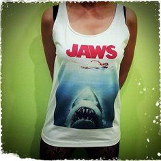 Jaws - 1975 Poster Shark US Movies Hollywood Woman Tank Top Crop Vest Tshirt T Shirt Tees