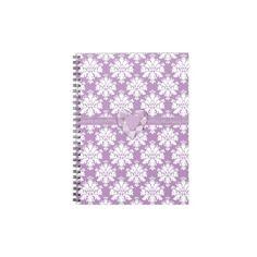 KRW Purple Jeweled Heart Damask Lined Notebook