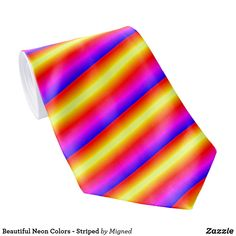 Shop Beautiful Neon Colors - Striped Neck Tie created by Migned. Wedding Invitation Wording, Invitation Cards, Wedding Color Schemes, Wedding Colors, Custom Ties, Neckties, Unique Image, Dog Bowtie, Neon Colors