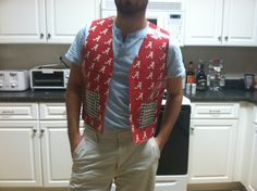 Check out this awesome duct tape vest! Duck Tape Crafts, Football Fashion, Alabama Football, Roll Tide, Duct Tape, Houndstooth, Fasion, Rolls, Men Casual