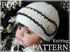 Baby Hat Knit PATTERN Baby Girl Beanie Nwborn Hat by Solnishko43
