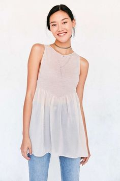 cool Kimchi Blue Skyler Babydoll Tunic Tank Top - Urban Outfitters...