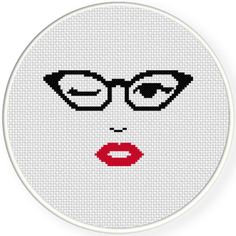Charts Club Members Only: Cats Eye Glasses Cross Stitch Pattern