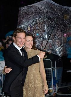 Battling the elements: Keira's co-star Benedict Cumberbatch struggled to maintain a hold o...