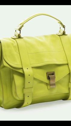 Proenza Schouler Citron Lux Leather Medium Bag - I love a crazy color bag or shoes with a neutral wardrobe.(wish the hardware was in silver! Tote Handbags, Purses And Handbags, Clutch Bags, Ps1 Bag, Cheap Bags, Buy Cheap, Handbag Organization, Leather Bag, Leather Fashion