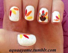 Thanksgiving Nail Art check out www.MyNailPolishObsession.com for more nail art ideas.
