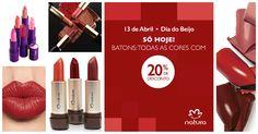 Somente em 13/Abr- Dia do Beijo, ganhe 20% desconto na compra online de qualquer batom do site utilizando o cupom: DIADOBEIJO. Escolha a sua cor! Aproveite.