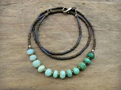 Green Ombre Chrysoprase necklace everyday by ArtifactsEtCetera, $38.00