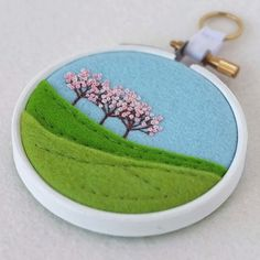 """Hand-Embroidered Spring Landscape with Three Trees (Pink Blossom) in 3"""" Embroidery Hoop £17.50"""