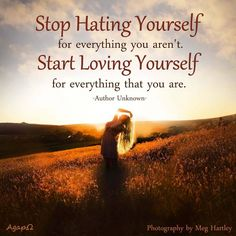 Stop Hating Yourself for everything you aren't. Start Loving Yourself for everything that you are. -Author Unknown