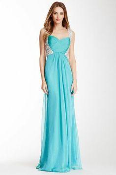 La Femme Open Back Embellished Gown