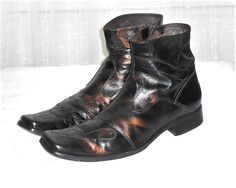 Aldo Men's Black Bronze Leather Square Toe Western Ankle Boot  Euro 45  US 12 #ALDO #AnkleBoots