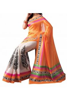 Orange and Off White Floral Printed Bhagalpuri Silk Saree