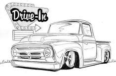 1956 Ford Truck By Nathan Miller Artwanted Com Truck Coloring Pages, Coloring Books, 1956 Ford Truck, Ford 56, Car Drawing Pencil, Nathan Miller, Cool Car Drawings, Truck Art, Car Sketch