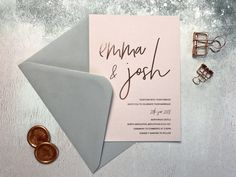 Rose Gold and Blush Wedding Invitation - Blushing Bride Collection