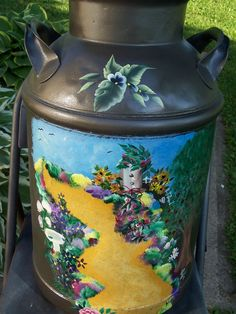 Painted Milk can - Garden Path painted by Kim Rundle - Arts by the Kickapoo
