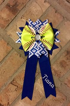Personalized Softball Bow Made From Real by CharacterBowtiqueTH