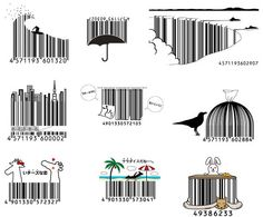 A collection of creative Japanese barcodes. Barcode Art, Barcode Design, Ad Design, Graphic Design, Projector Paint, Japanese Bar, Arte Do Harry Potter, Drawing Sketches, Drawings