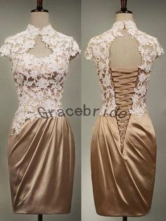 Champagne lace and brown satin dresses simple. Brown Satin Dress, Satin Dresses, Gowns, Dress Skirt, Lace Dress, Dress Up, Cute Dresses, Beautiful Dresses, Engagement Dresses